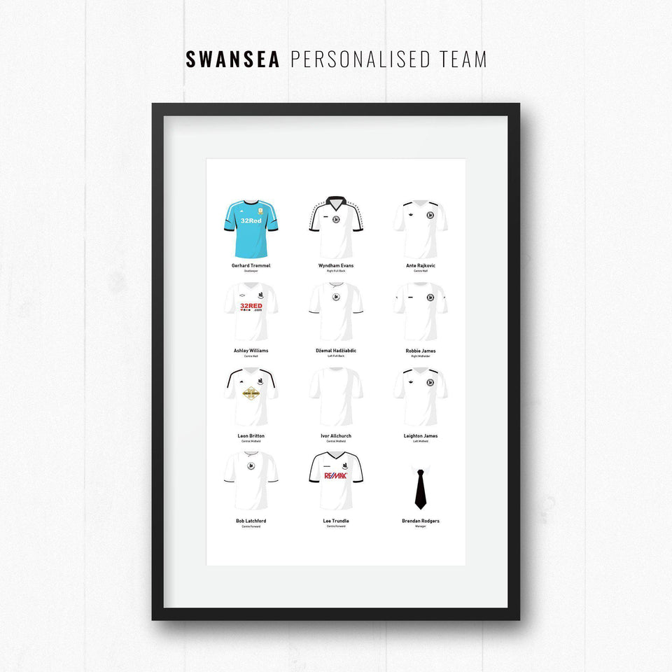 PERSONALISED Swansea Football Team Print