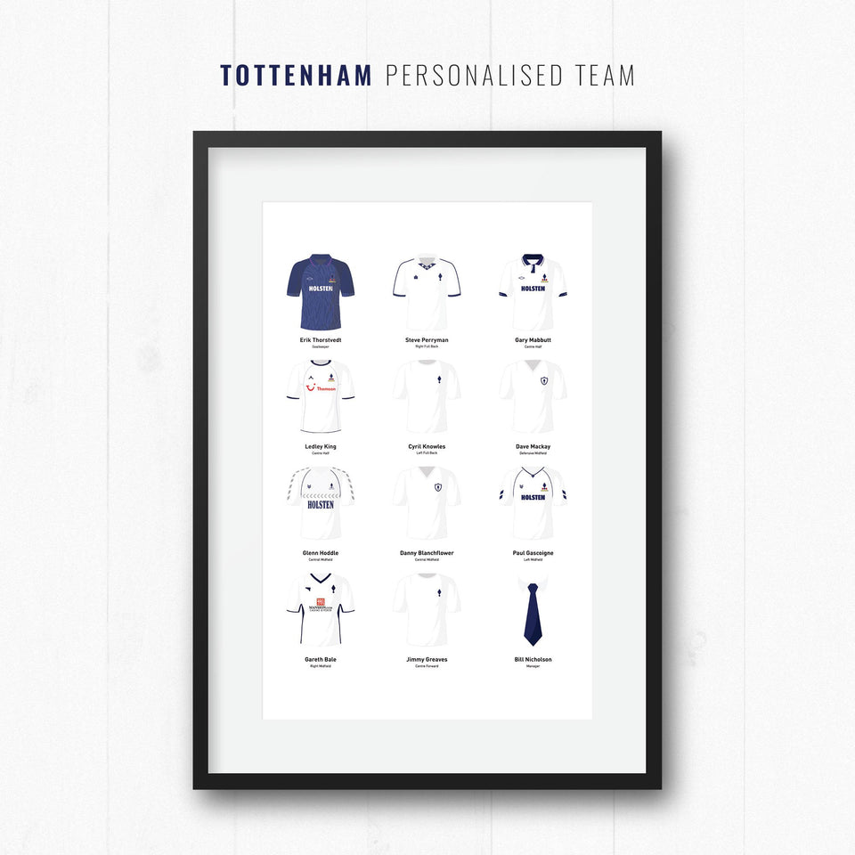 PERSONALISED Tottenham Football Team Print - Good Team On Paper