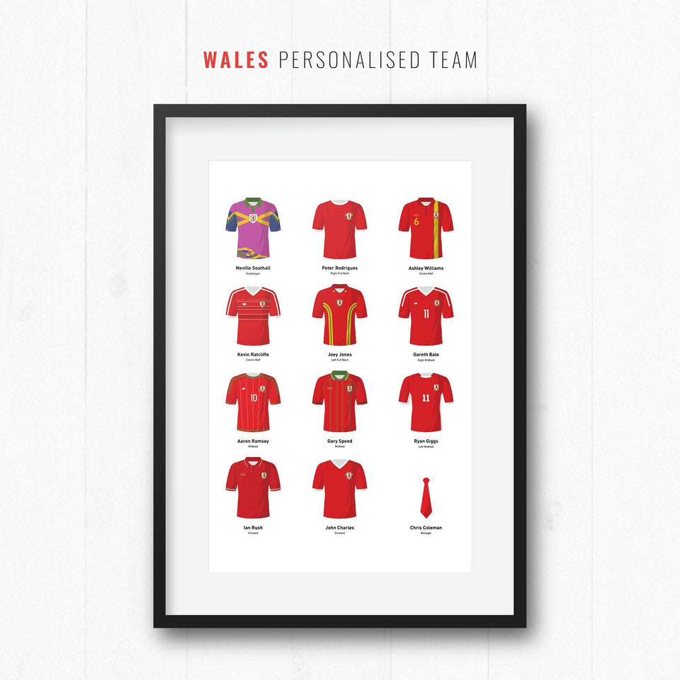 PERSONALISED Wales Football Team Print