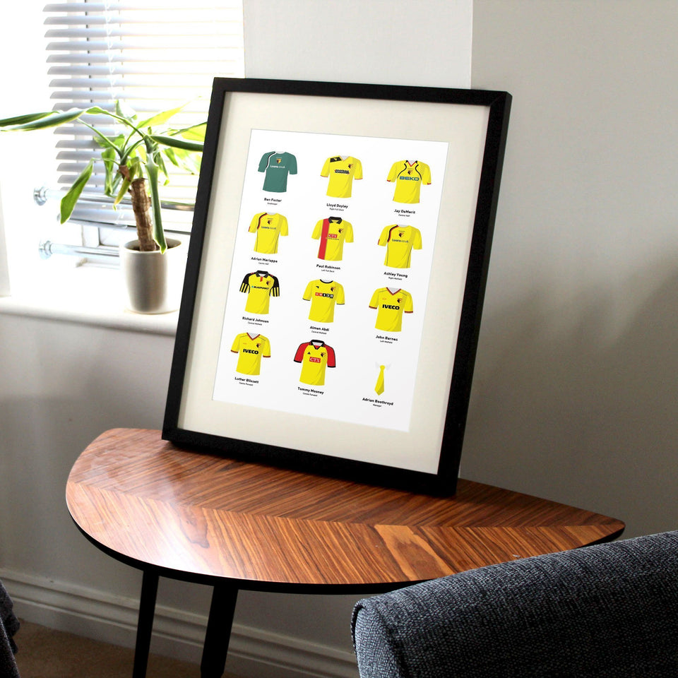 PERSONALISED Watford Football Team Print-Good Team On Paper