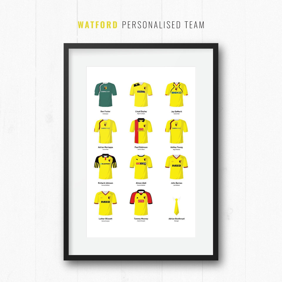 PERSONALISED Watford Football Team Print