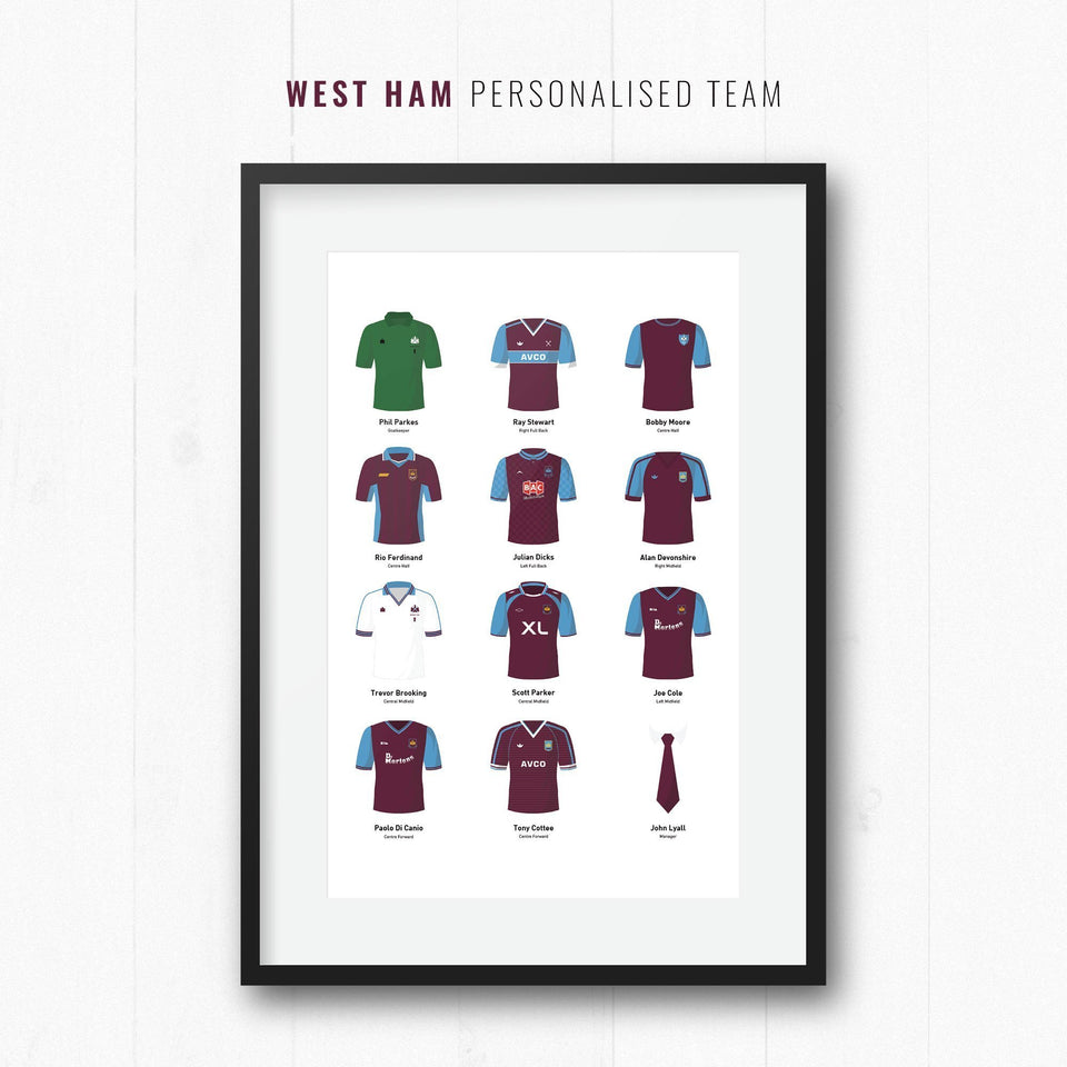 PERSONALISED West Ham Football Team Print