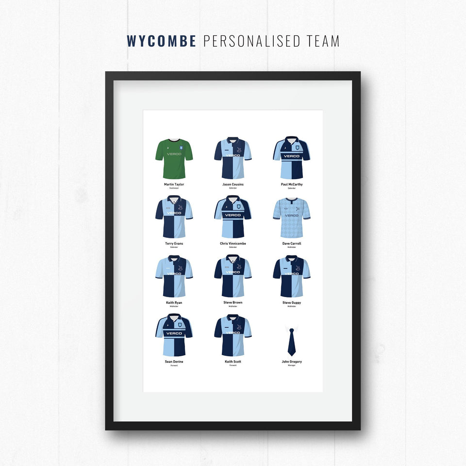 PERSONALISED Wycombe Football Team Print-Good Team On Paper
