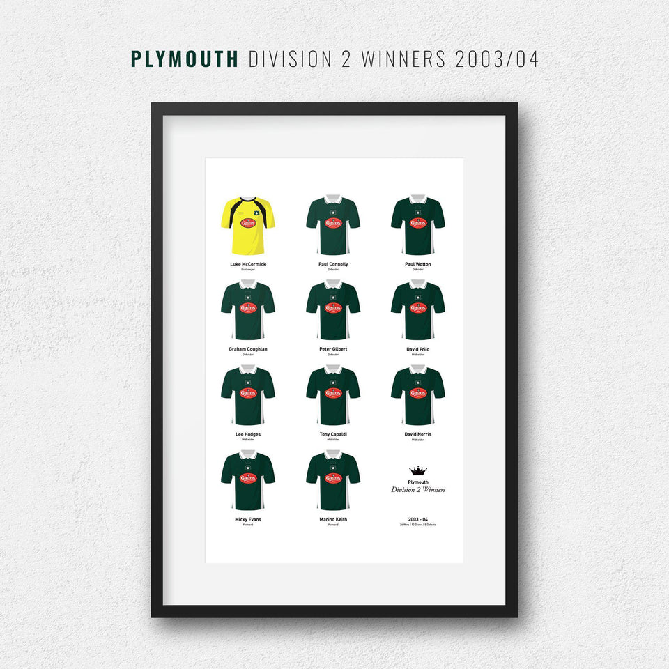 Plymouth 2004 Division 2 Winners Football Team Print