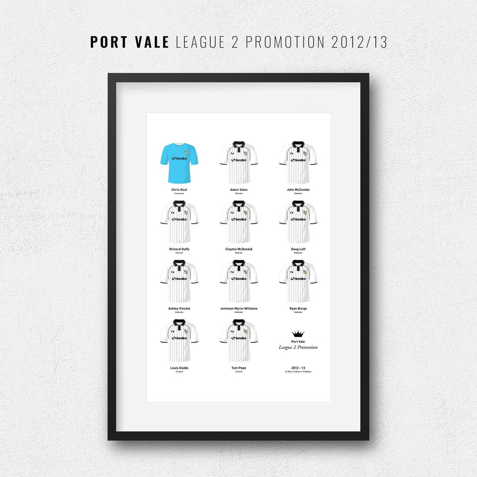 Port Vale 2013 League 2 Promotion Football Team Print
