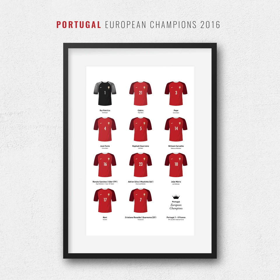 Portugal 2016 European Championship Winners Football Team Print - Good Team On Paper