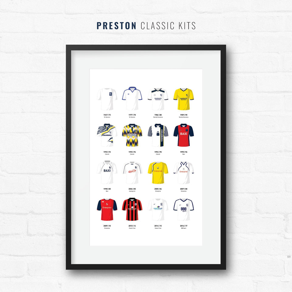 Preston Classic Kits Football Team Print-Good Team On Paper