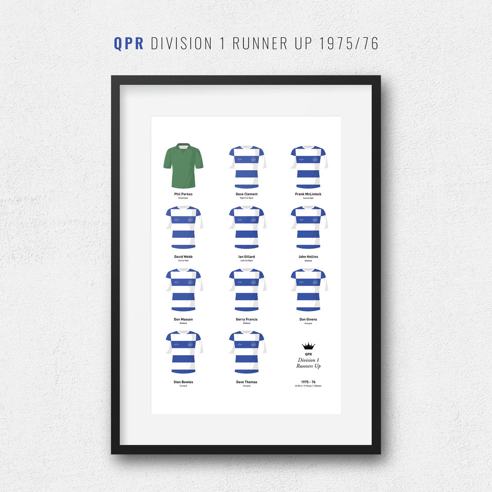 QPR 1976 Division 1 Runners Up Football Team Print - Good Team On Paper