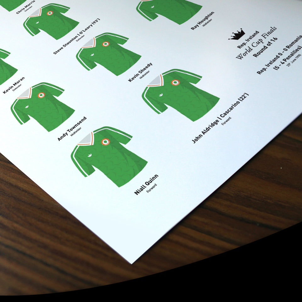 Republic of Ireland 1990 World Cup Finals Football Team Print - Good Team On Paper