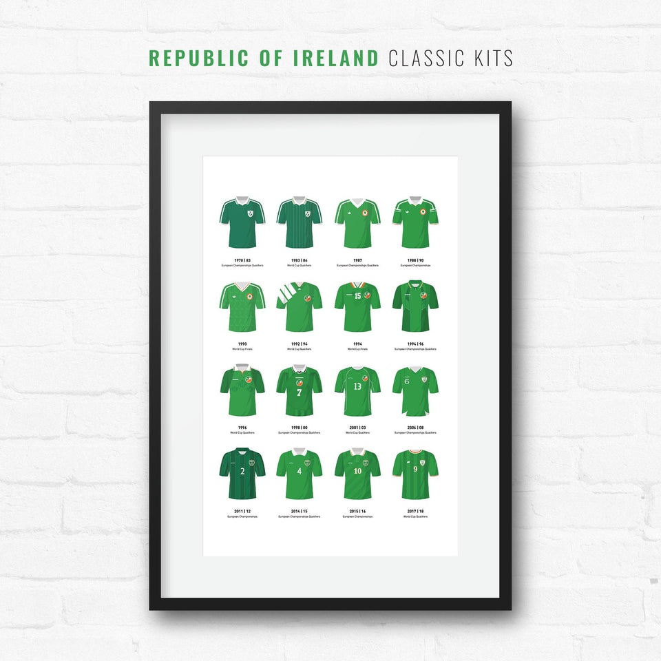 Republic of Ireland Classic Kits Football Team Print-Good Team On Paper