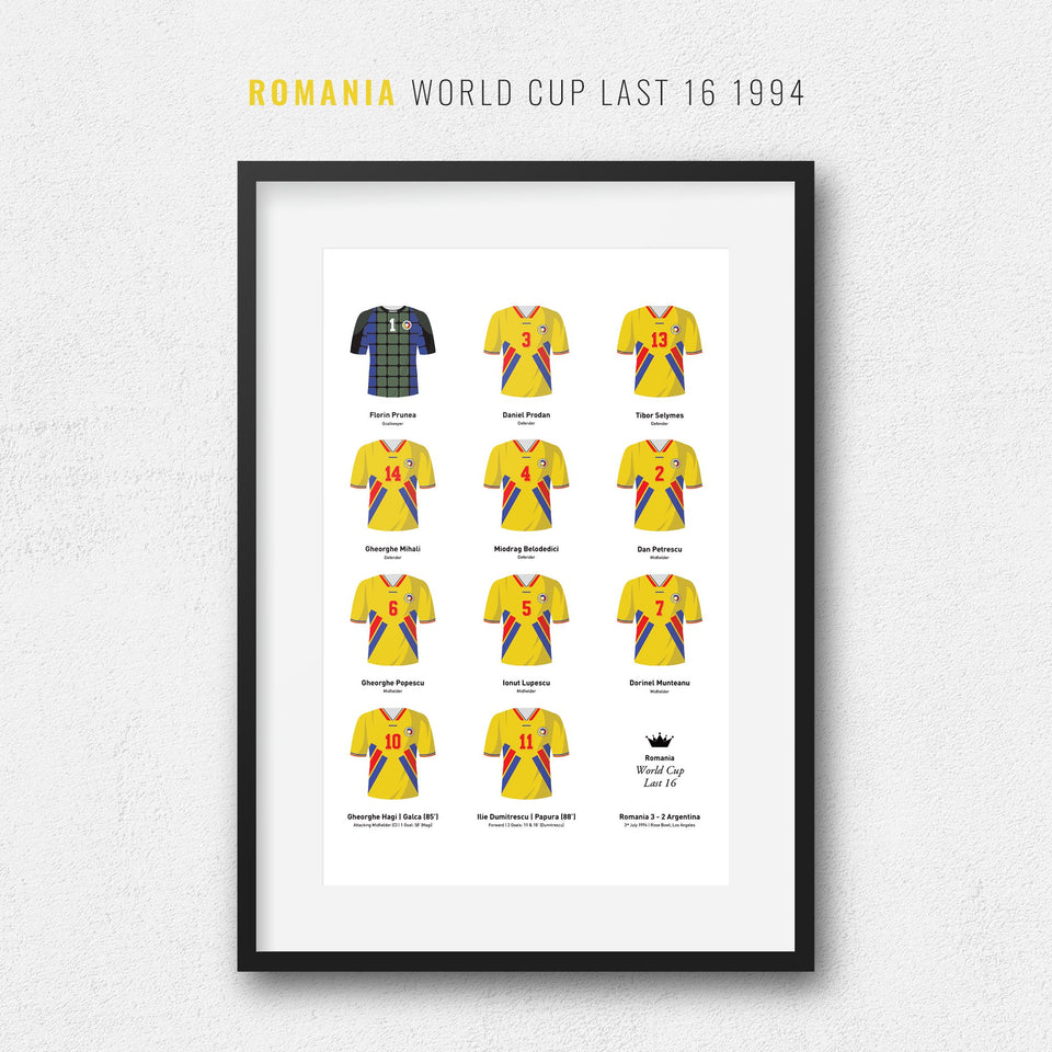 Romania 1994 World Cup Finals Football Team Print - Good Team On Paper