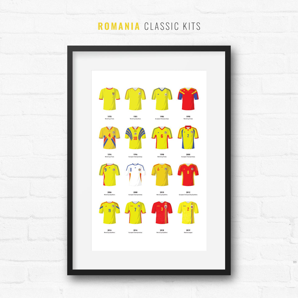 Romania Classic Kits Football Team Print - Good Team On Paper