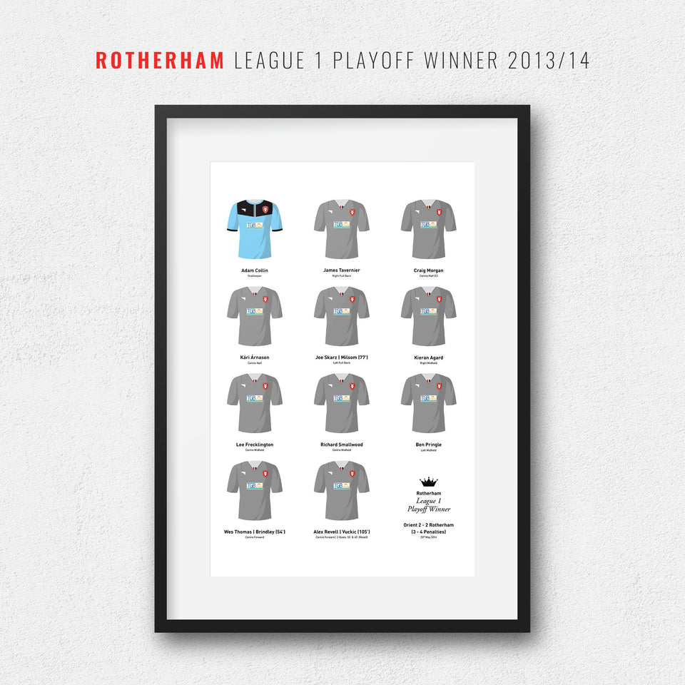 Rotherham 2014 League 1 Playoff Winners Football Team Print
