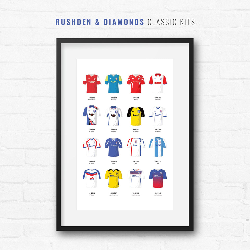 Rushden & Diamonds Classic Kits Football Team Print