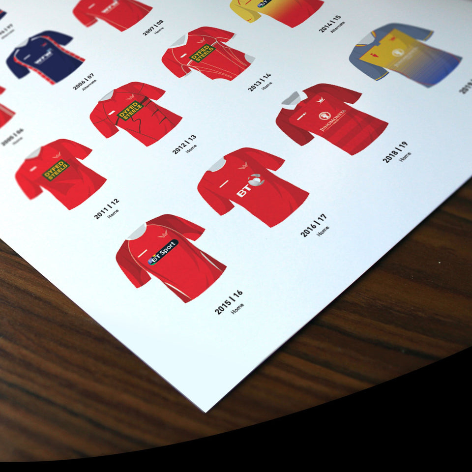 Scarlets Classic Kits Rugby Union Team Print - Good Team On Paper