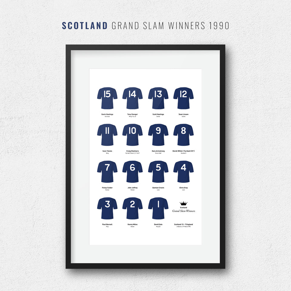 Scotland Rugby Union 1990 Grand Slam Winners Team Print