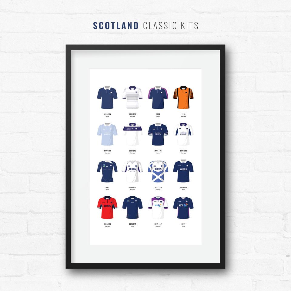 Scotland Classic Kits Rugby Union Team Print