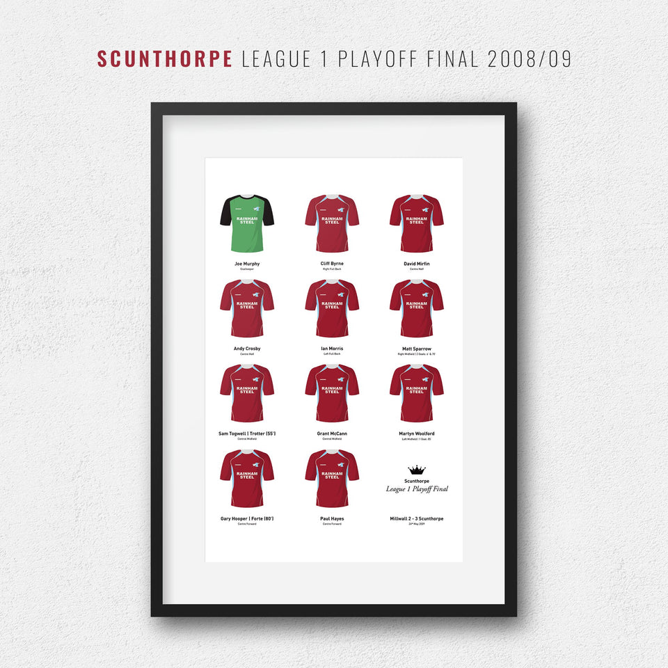 Scunthorpe 2009 League 1 Playoff Winners Football Team Print