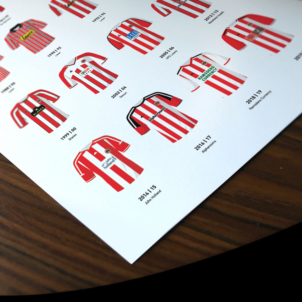 Sheff Utd Classic Kits Football Team Print - Good Team On Paper