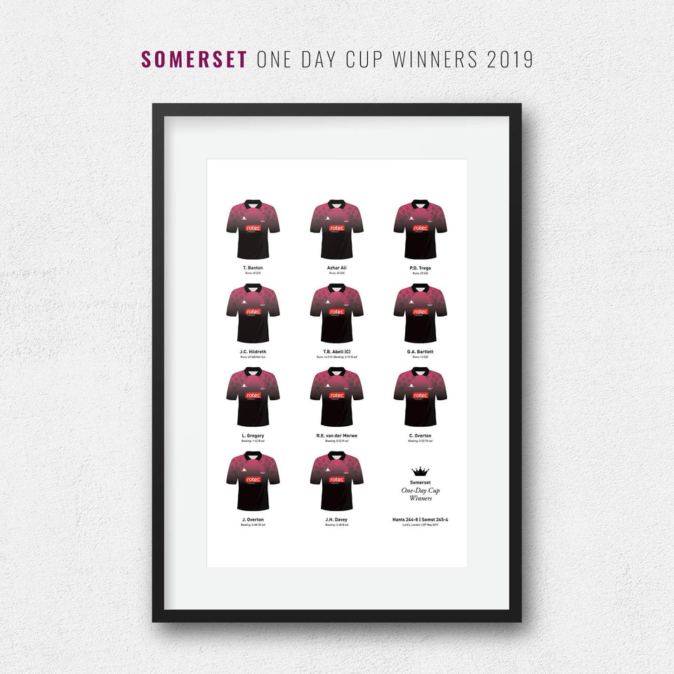 Somerset Cricket 2019 One Day Cup Winners Team Print