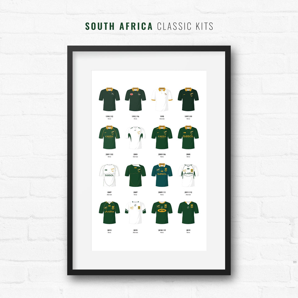 South Africa Classic Kits Rugby Union Team Print