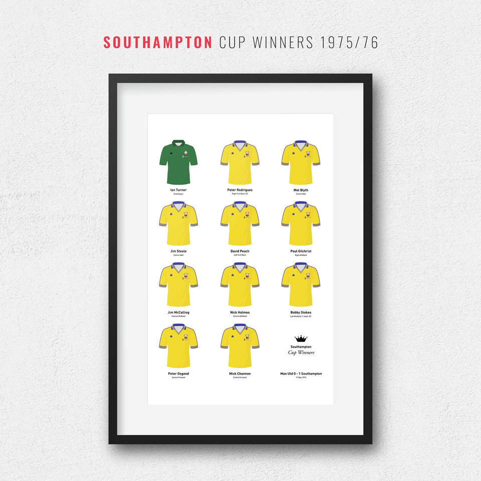 Southampton 1976 Cup Winners Football Team Print-Good Team On Paper