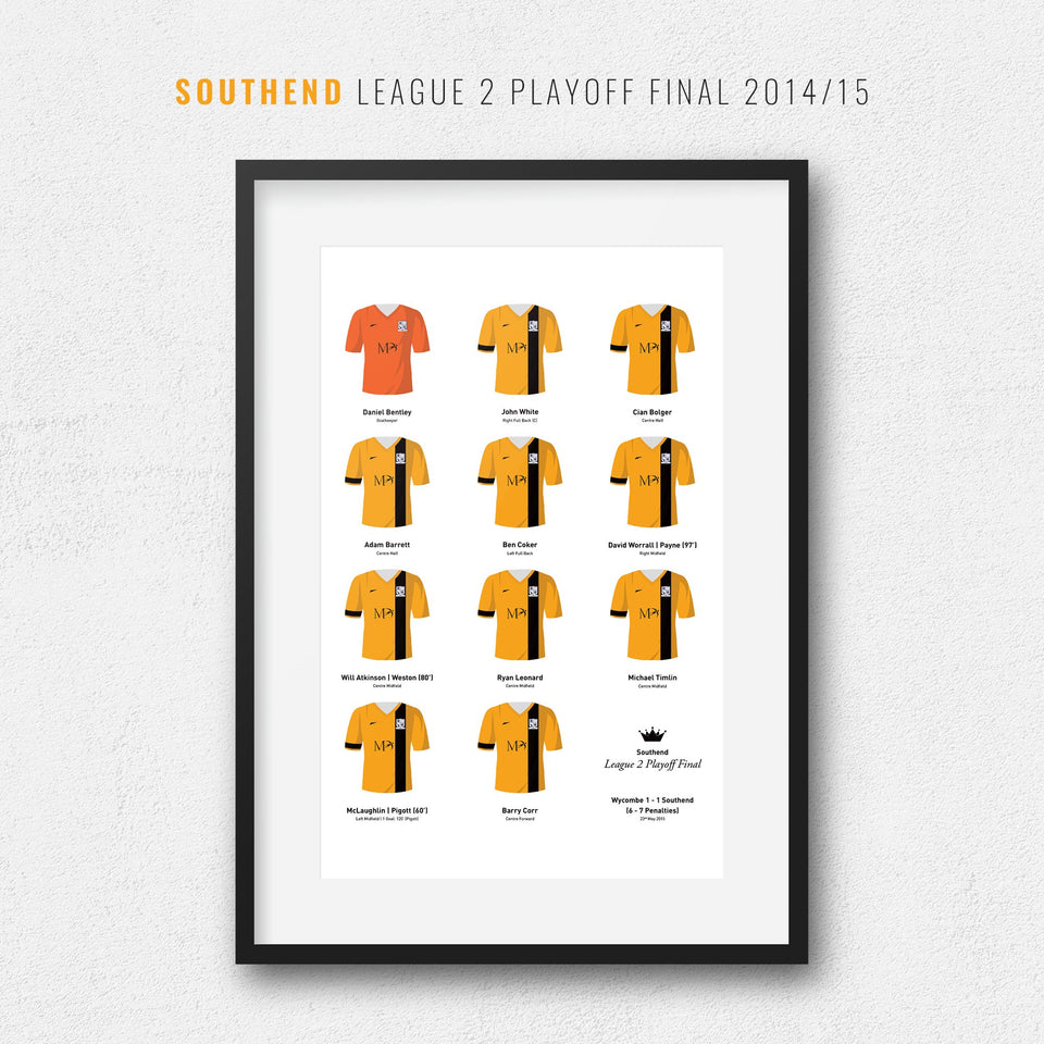 Southend 2015 League 2 Playoff Winners Football Team Print