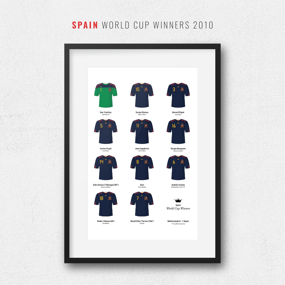 Spain 2010 World Cup Winners Football Team Print - Good Team On Paper