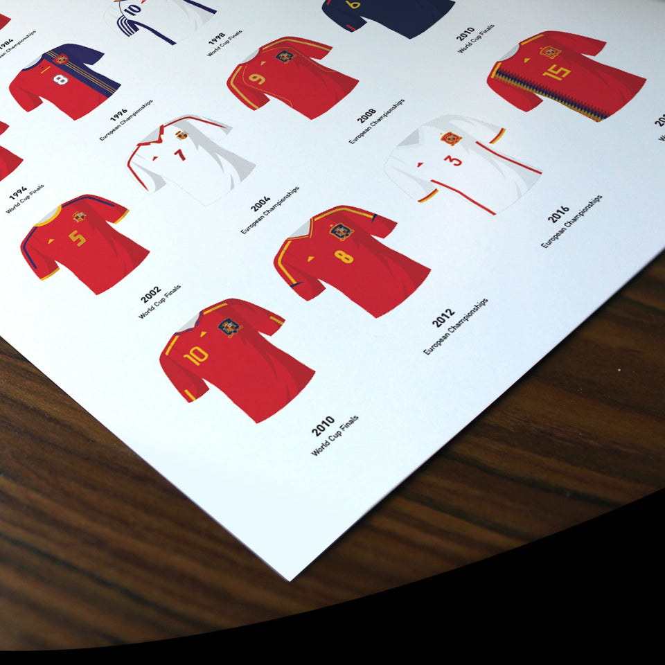 Spain Classic Kits Football Team Print - Good Team On Paper