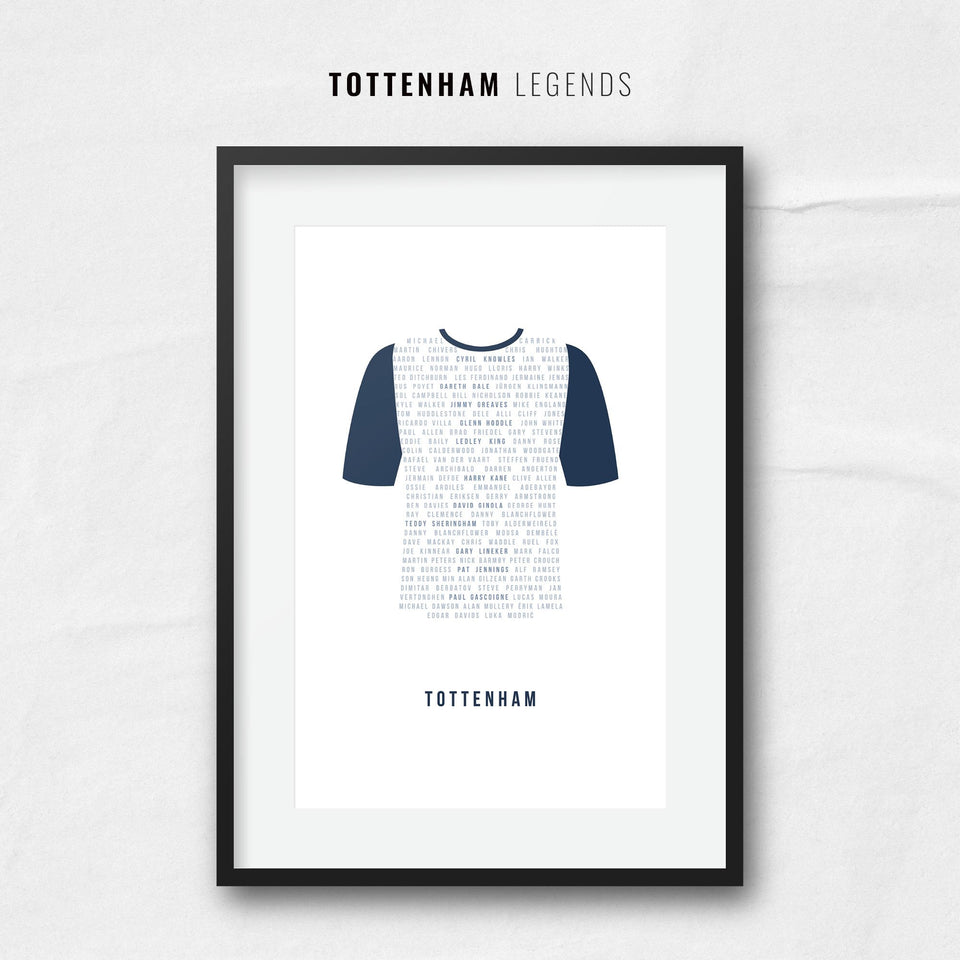 Tottenham Club Legends Football Team Print - Good Team On Paper