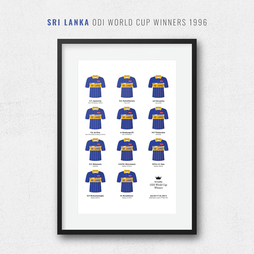 Sri Lanka Cricket 1996 World Cup Winners Team Print
