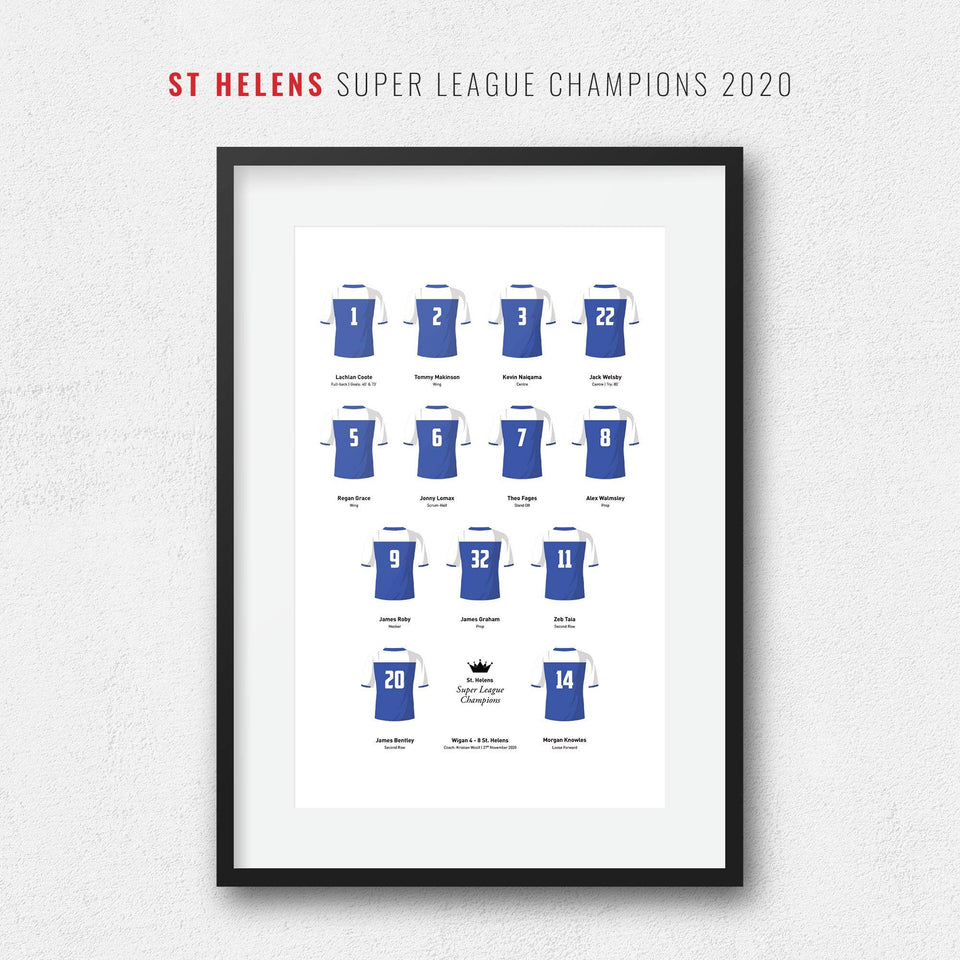 St Helens Rugby League 2020 Super League Champions Team Print