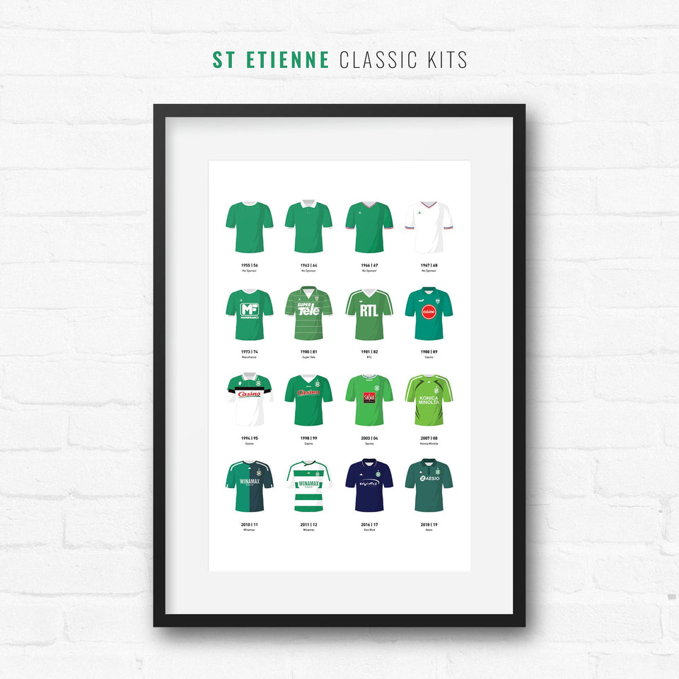 St Etienne Classic Kits Football Team Print - Good Team On Paper