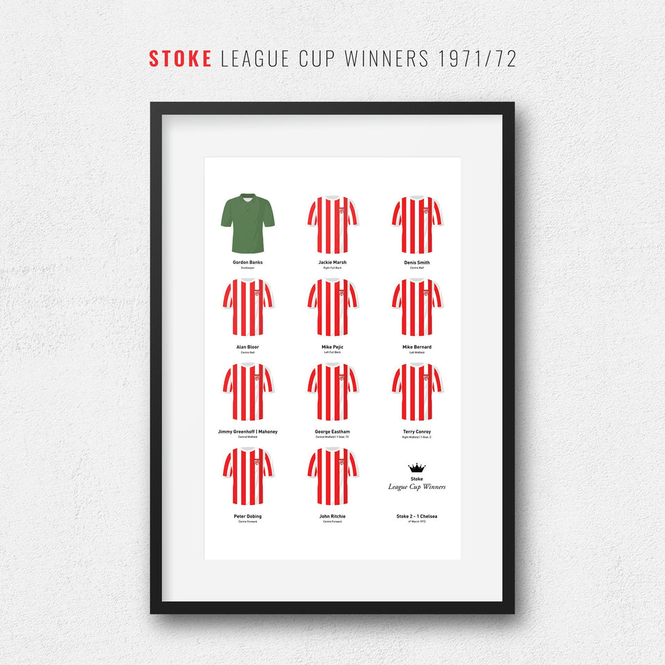 Stoke 1972 League Cup Winners Football Team Print-Good Team On Paper