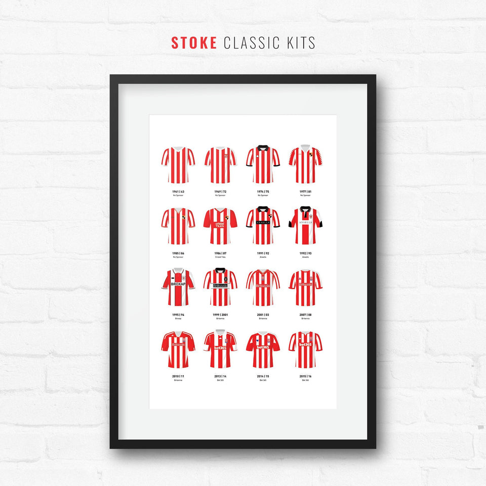 Stoke Classic Kits Football Team Print-Good Team On Paper