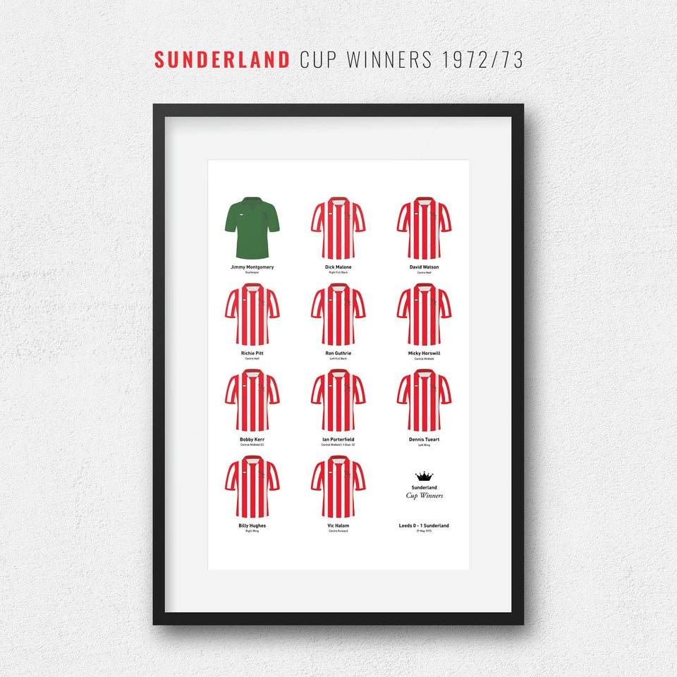 Sunderland 1973 Cup Winners Football Team Print - Good Team On Paper