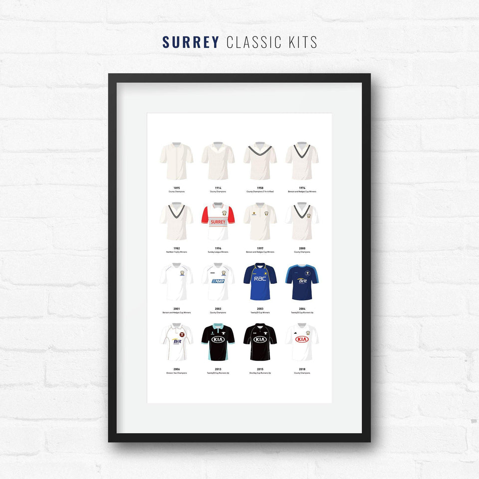 Surrey Cricket Classic Kits Cricket Team Print