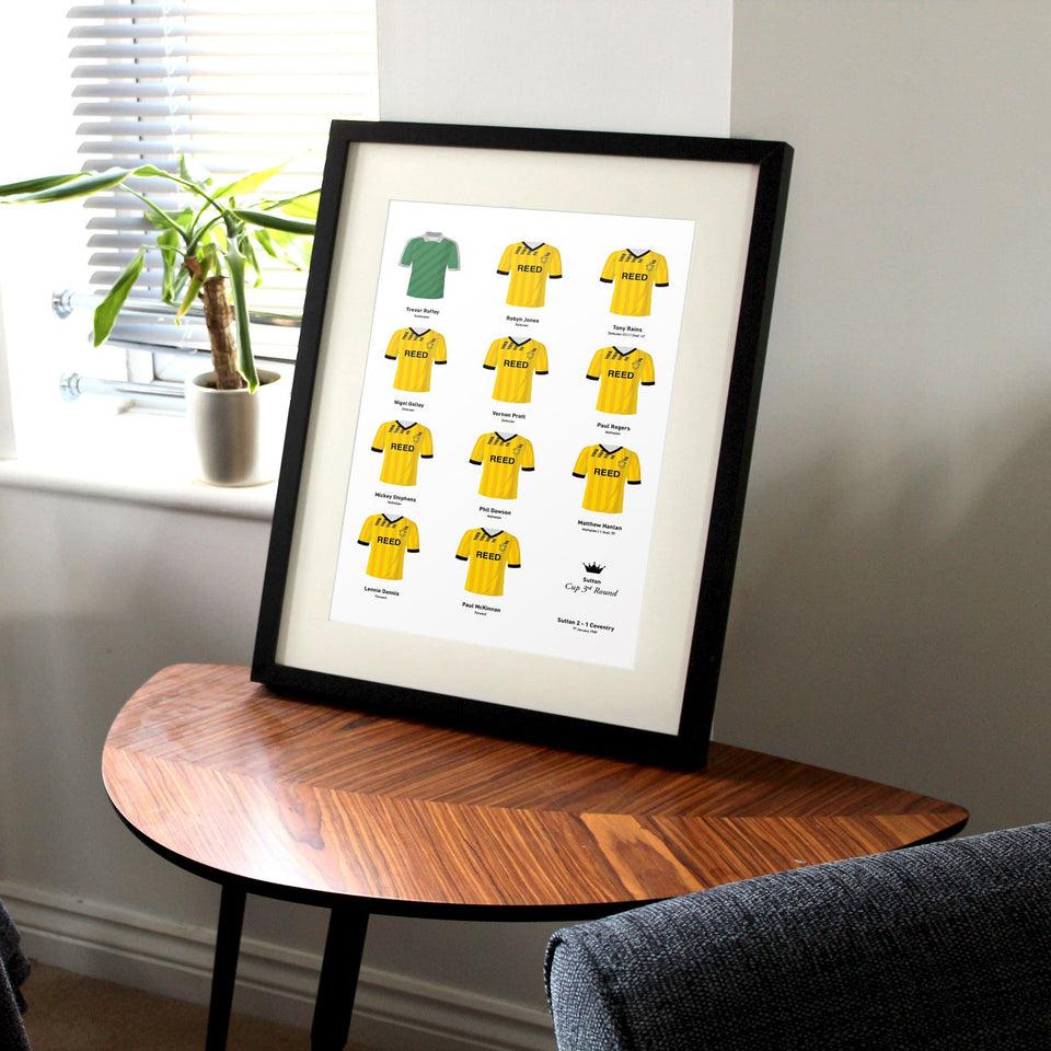 Sutton 1989 Cup 3rd Round Football Team Print
