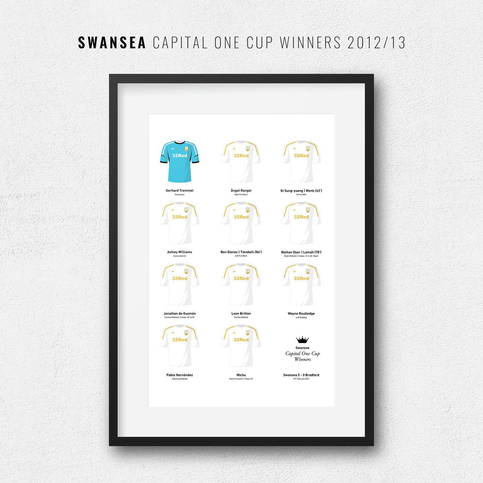 Swansea 2013 Capital One Cup Winners Football Team Print