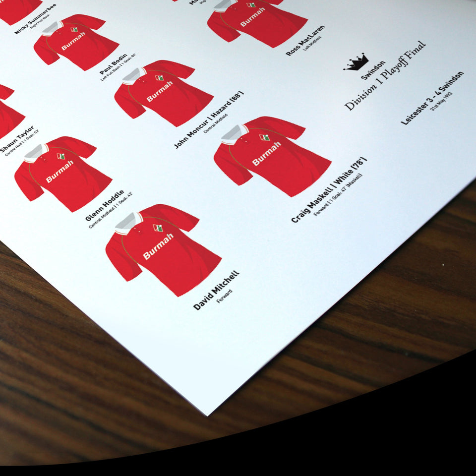 Swindon 1993 Division 1 Playoff Winners Football Team Print