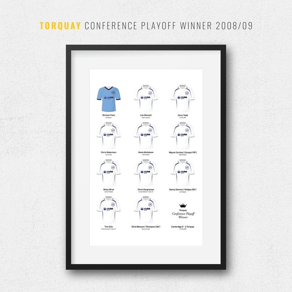 Torquay 2009 Conference Playoff Final Football Team Print - Good Team On Paper
