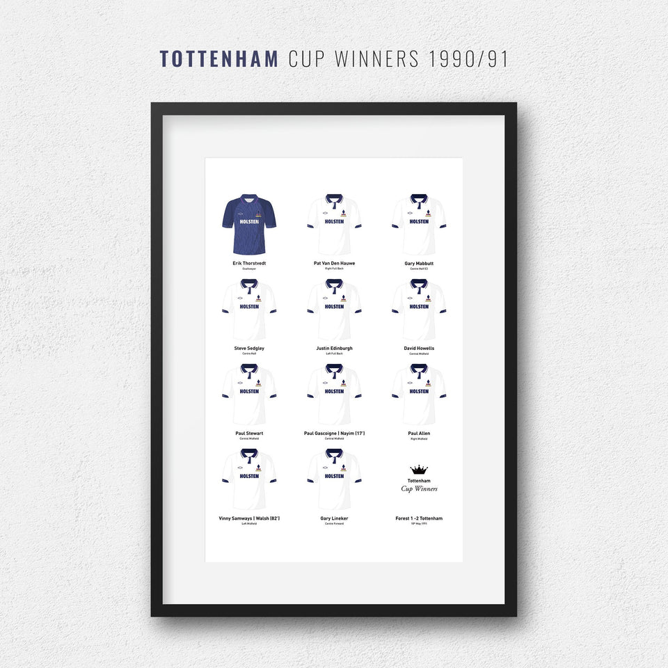Tottenham 1991 Cup Winners Football Team Print - Good Team On Paper