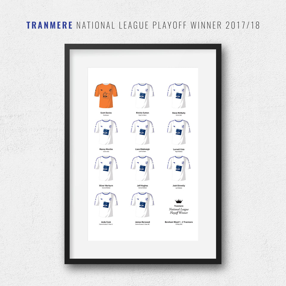 Tranmere 2018 National League Playoff Winners Football Team Print - Good Team On Paper
