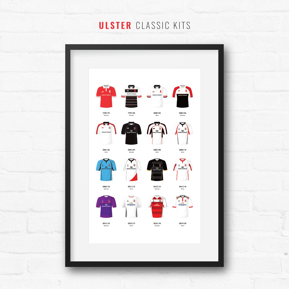 Ulster Classic Kits Rugby Union Team Print - Good Team On Paper