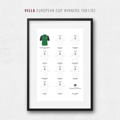 Villa 1982 European Cup Winners Football Team Print-Good Team On Paper