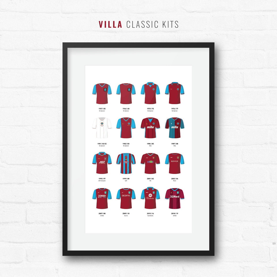 Villa Classic Kits Football Team Print-Good Team On Paper