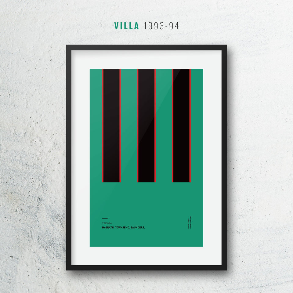 Villa 1993 Iconic Football Kit Pattern Print - Good Team On Paper