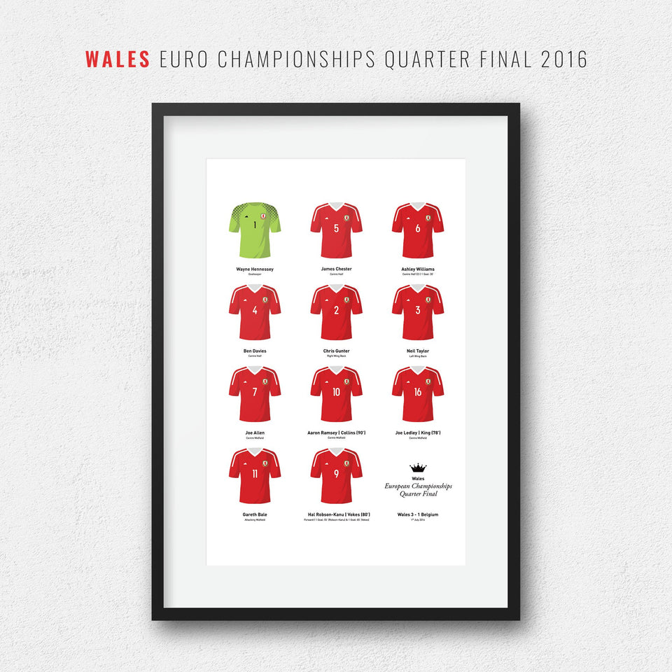 Wales 2016 European Championships Quarter Final Football Team Print - Good Team On Paper