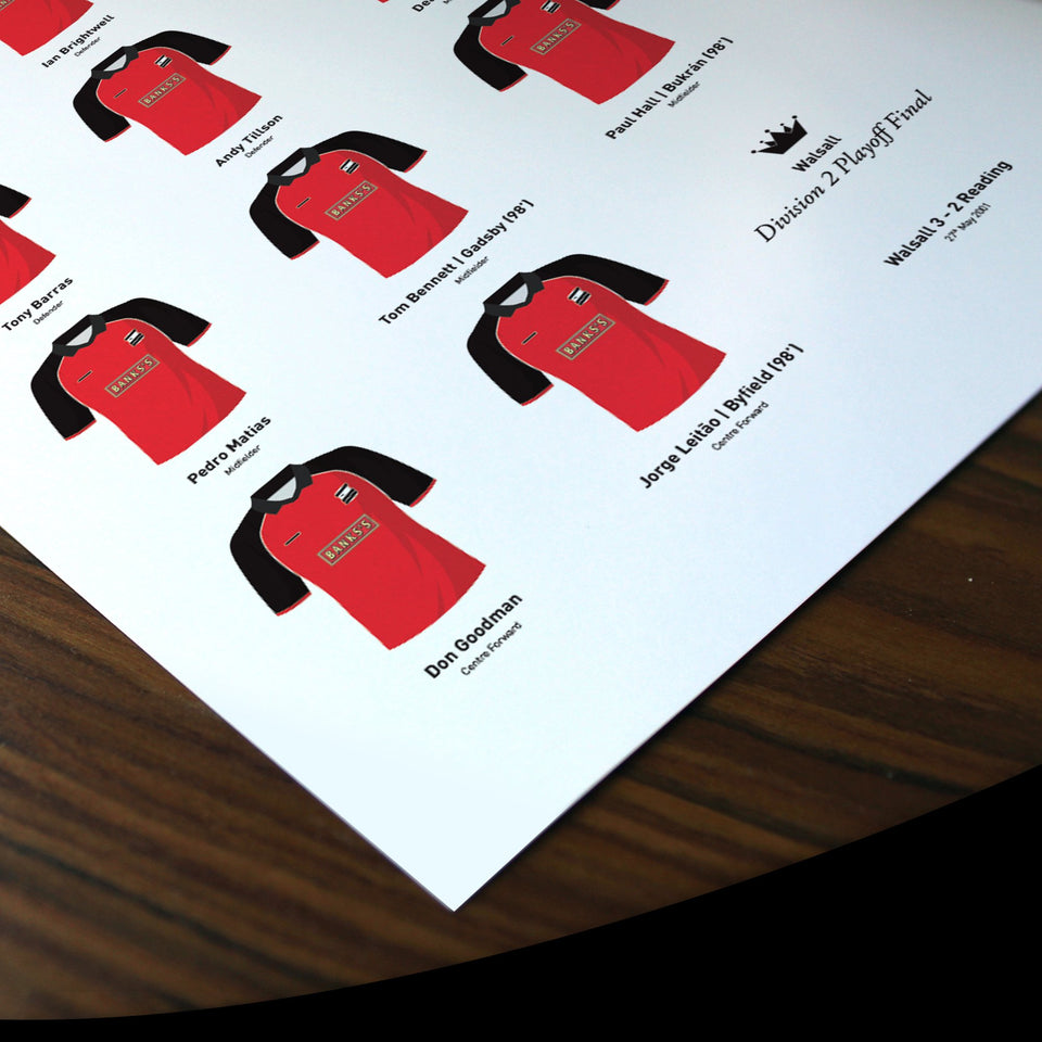 Walsall 2001 Division 2 Playoff Winners Football Team Print