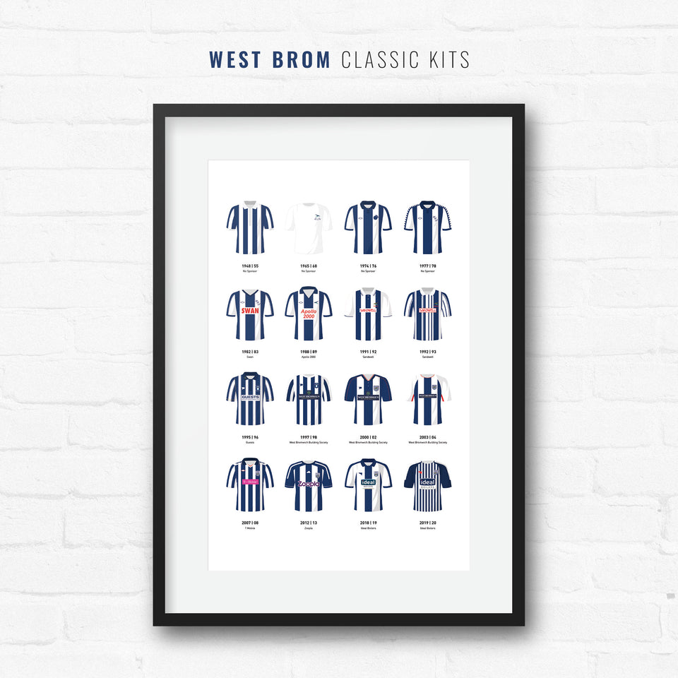 West Brom Classic Kits Football Team Print